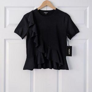 NWT Worth New York Black Ruffle Sweater Top   S